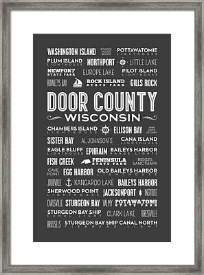 Places Of Door County On Gray Framed Print
