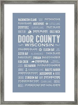 Places Of Door County On Light Blue Framed Print
