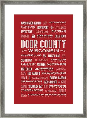 Places Of Door County On Red Framed Print