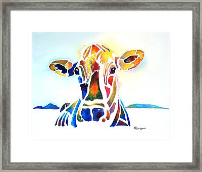 Placid The Cow Framed Print by Jo Lynch