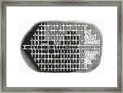 Plan Of A Coal Mine In The 19th Framed Print