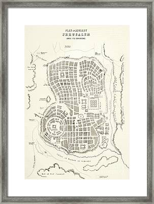 Plan Of Ancient Jerusalem As It Was Presumed To Be At The Time Of Jesus Christ Framed Print by English School