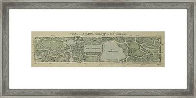 Framed Print featuring the photograph Plan Of Central Park City Of New York 1860 by Duncan Pearson