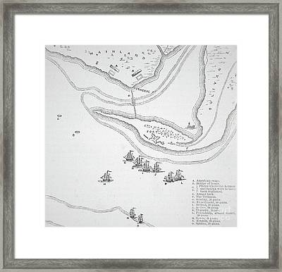 Plan Of The Attack On Sullivan's Island, 1776 Framed Print by American School