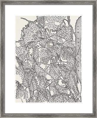 Plan Of The Battle Of Pittsburg Landing Framed Print by American School
