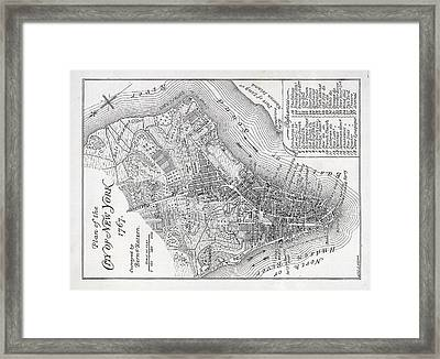 Plan Of The City Of New York Framed Print by American School