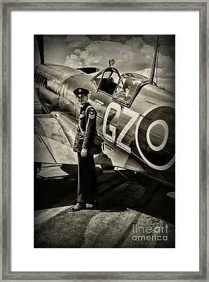 Plane - British Spitfire And Pilot Framed Print