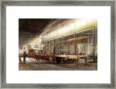 Plane - In The Airplane Factory 1918 Framed Print by Mike Savad