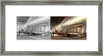 Plane - In The Airplane Factory 1918 - Side By Side Framed Print by Mike Savad