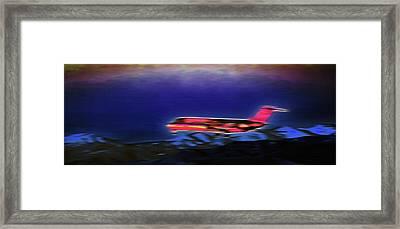 Plane Landing At Airport - The Red Eye Flight Framed Print by Steve Ohlsen