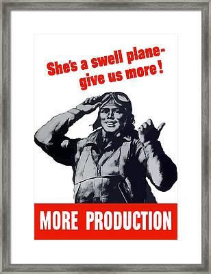 Plane Production Give Us More Framed Print by War Is Hell Store