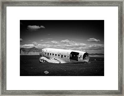 Plane Wreck In Iceland Black And White Framed Print