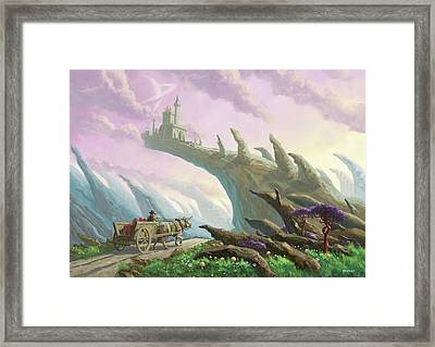 Framed Print featuring the painting Planet Castle On Arch by Martin Davey