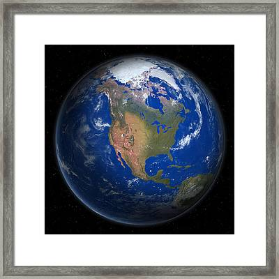 Planet Earth From Space, North America Prominent Framed Print