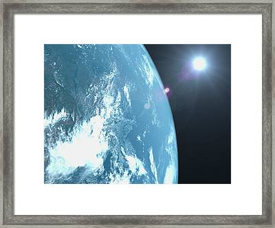 Planet Earth, Satellite View Framed Print by Caspar Benson