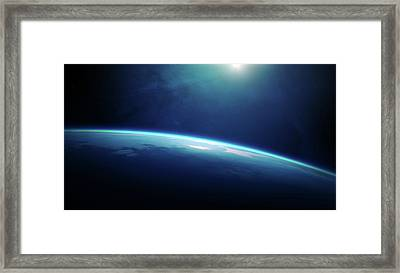 Planet Earth Sunrise From Space Framed Print by Johan Swanepoel