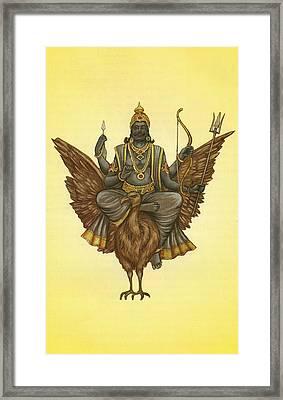 Planet - Saturn, Navgraha- Shani, Hindu Vadic Art,indian Miniature Painting,watercolor Painting Framed Print by Jagannath