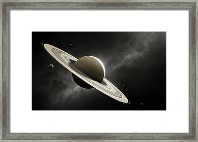 Planet Saturn With Major Moons Framed Print by Johan Swanepoel