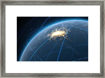 Planet With Illuminated City And Light Trails Framed Print