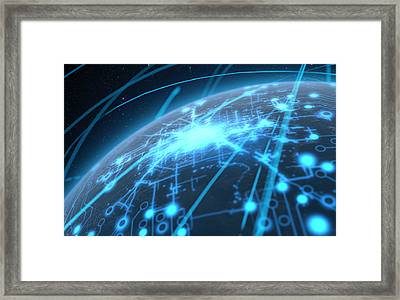 Planet With Illuminated Network And Light Trails Framed Print