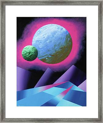 Planet X Abstract Landscape Painting Framed Print by Mark Webster