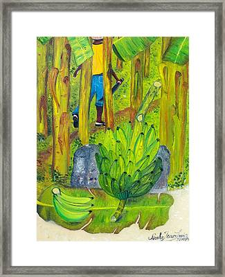 Framed Print featuring the painting Plantain Farmer's Pride by Nicole Jean-louis
