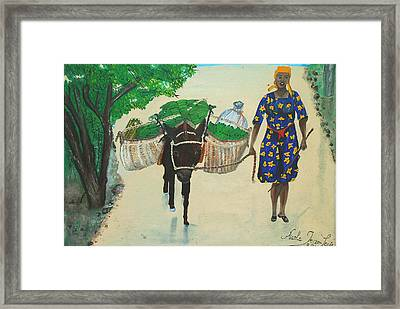 Framed Print featuring the painting Plantain Merchant Woman by Nicole Jean-Louis