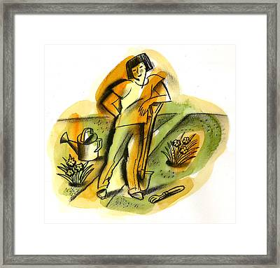 Planting Framed Print by Leon Zernitsky