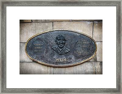 Plaque Remembering Oscar Wilde In Dublin Framed Print by RicardMN Photography