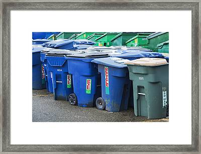 Plastic Garbage Bins Framed Print by Don Mason