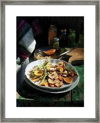 Plate Of Dried Fruits And Vegetables Framed Print by Susan Savad