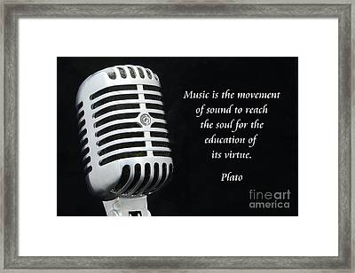 Plato On Music Framed Print