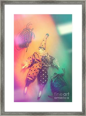 Play Act Of A Puppet Clown Performing A Sad Mime Framed Print