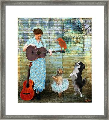 Play For Us Please. Framed Print by Maz