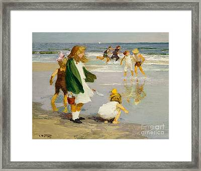 Play In The Surf Framed Print by Edward Henry Potthast