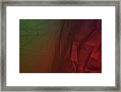 Play Of Hues. Dark Olive Green And Firebrick Red. Textured Abstract Framed Print