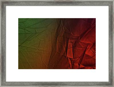 Play Of Hues. Dark Olive Green And Firebrick Red Vibrant. Textured Abstract Framed Print
