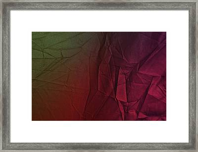 Play Of Hues. Dark Olive Green And Violet Red. Textured Abstract Framed Print