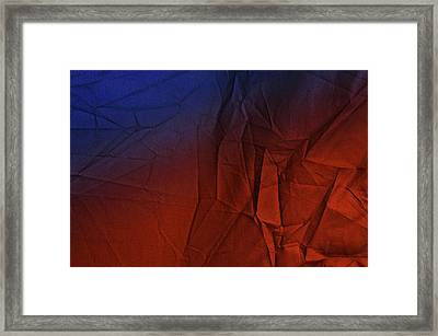 Play Of Hues. Medum Blue And Orange Red. Textured Abstract Framed Print