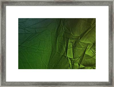 Play Of Hues. Sea Green And Olive Drab. Textured Abstract Framed Print