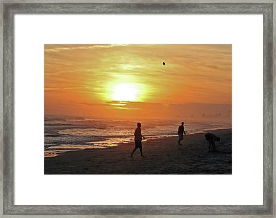 Play On The Beach Framed Print