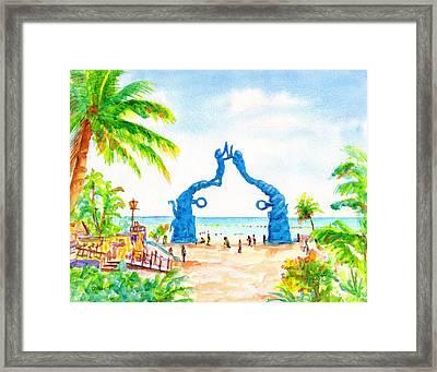 Playa Del Carmen Portal Maya Statue Framed Print