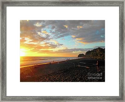 Playa Hermosa Puntarenas Costa Rica - Sunset A One Framed Print by Felipe Adan Lerma