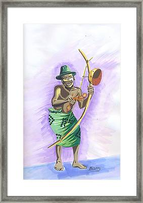 Framed Print featuring the painting Player Umuduri From Rwanda by Emmanuel Baliyanga