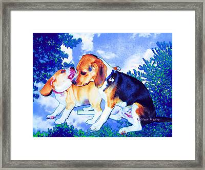 Playful Combat Framed Print