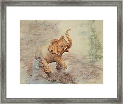 Playful Elephant Baby Framed Print