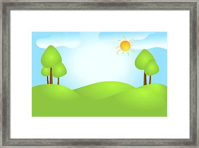 Playful Kid's Spring Backdrop Framed Print