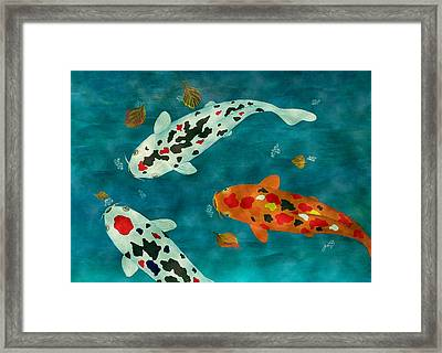 Framed Print featuring the painting Playful Koi Fishes Original Acrylic Painting by Georgeta Blanaru