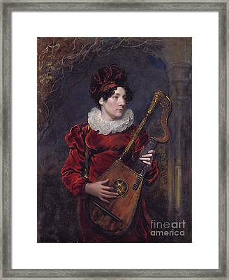 Playing A Harp Lute Framed Print by Celestial Images