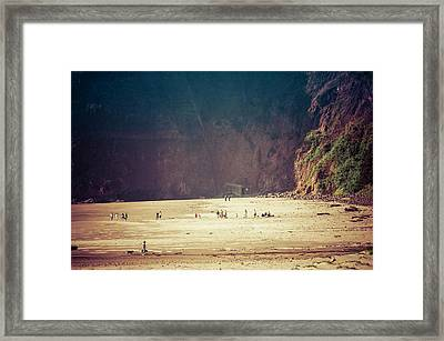 Playing Along Oceanside Oregon Framed Print